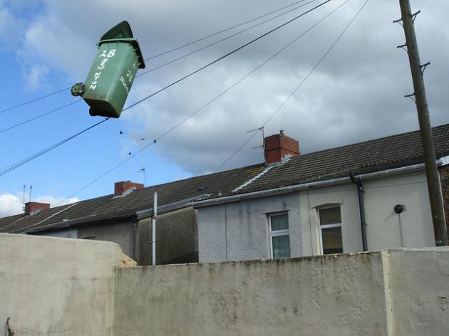 wheelie bin flying