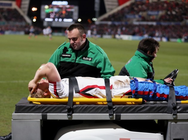 Stuart Olding is stretched off by medics