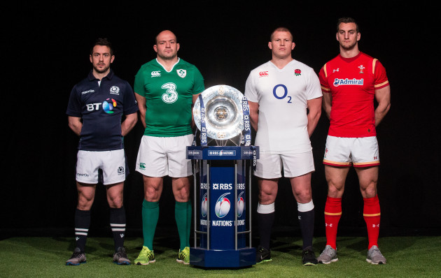 Greig Laidlaw, Rory Best, Dylan Hartley and Sam Warburton with the Triple Crown trophy