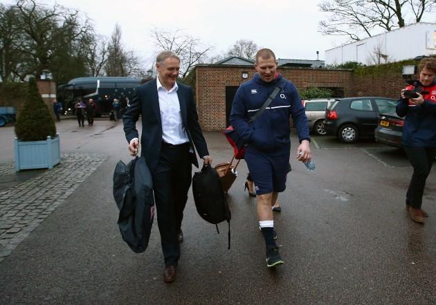 Joe Schmidt and Dylan Hartley arrive