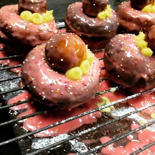 Simply rhubarb and custard. #pastrylife #pastryporn #thewoollenmills #pink #lovindublin #rhubarbandcustard #doughnutdiaries