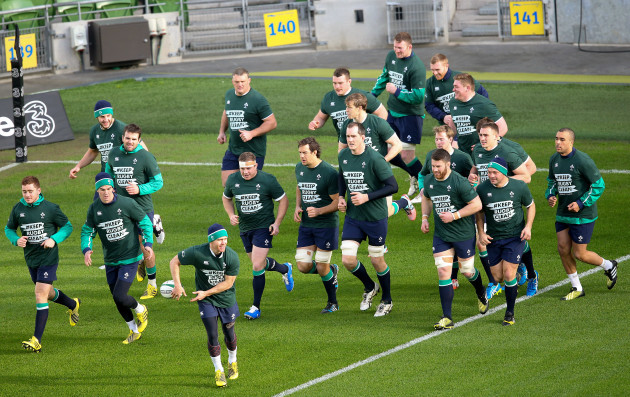 The players warm up wearing 'Keep Rugby Clean' T-Shirts