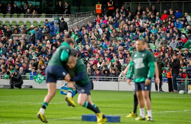 Fans at the open training session in the Aviva Stadium today