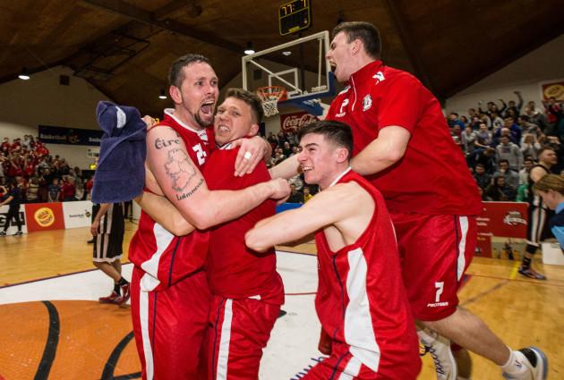 Jason Killeen, Shane Homan, Lorcan Murphy and Rob Daly celebrate