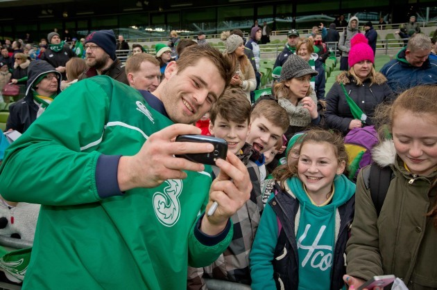 CJ Stander with fans at the open training session