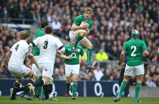 Andrew Trimble catches a ball in midair