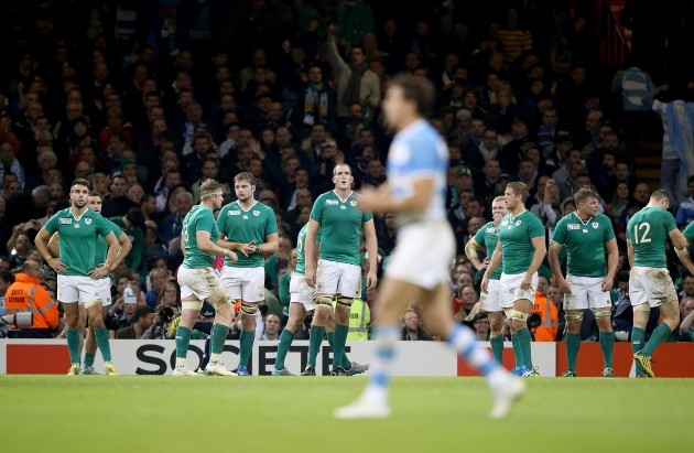 Ireland players dejected after Argentina's third try