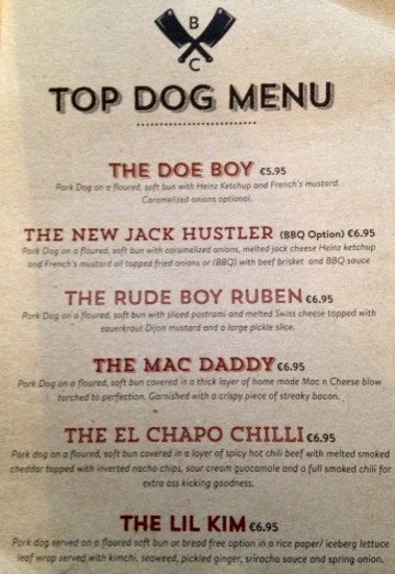 MENU TOP DOG AT BULL AND CASTLE DUBLIN