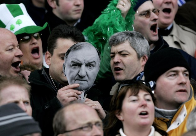 Irish fans with George Hook lyric sheet