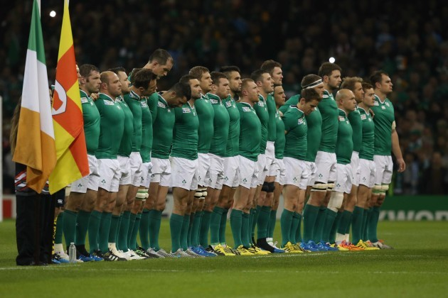 Ireland team at the national anthem