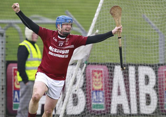 Karl McKeegan celebrates a goal