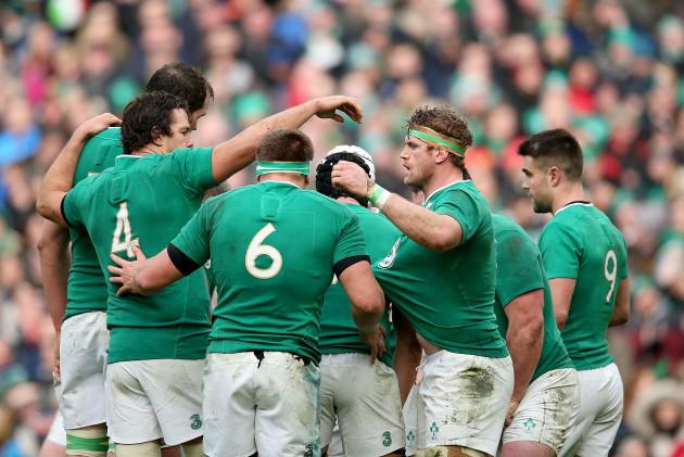 The Ireland team huddle
