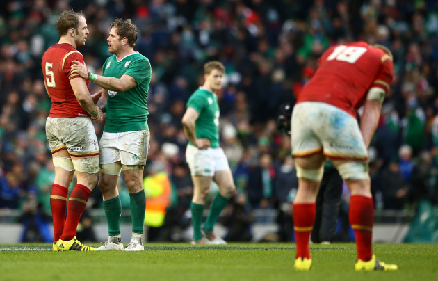 Alun Wyn Jones and Jamie Heaslip at the final whistle
