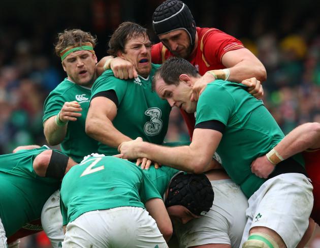 Ireland's Jamie Heaslip Mike McCarthy Devin Toner and Wales's Luke Charteris