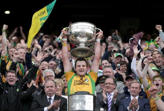 Michael Murphy raises the Sam Maguire