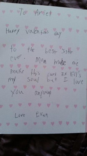 A Little Boy Made A Painfully Honest Valentines Day Card For His Sister