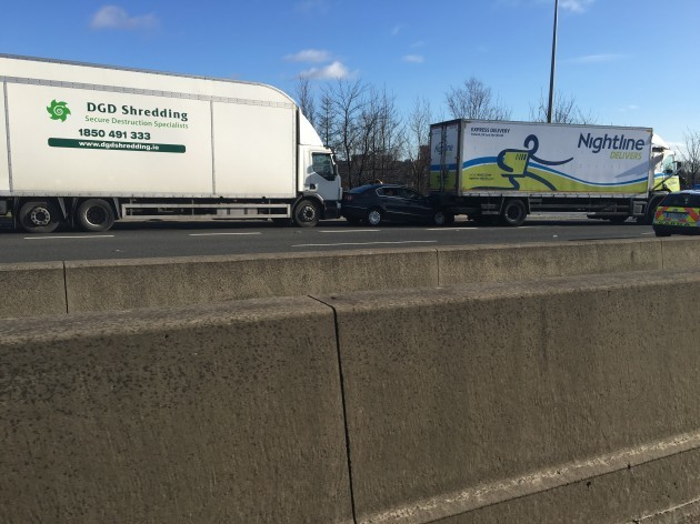 de384e3813 Three trucks crashed on the M50 and a car was caught in the middle