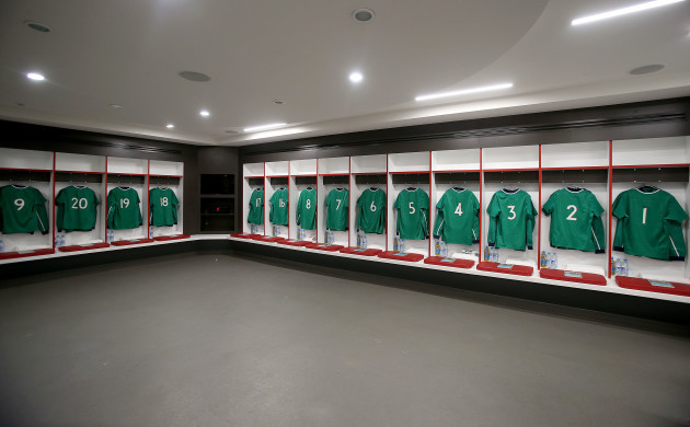 A view of the Ireland changing room ahead of the game