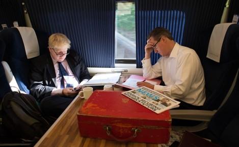 David Cameron and Boris Johnson visit to Newark