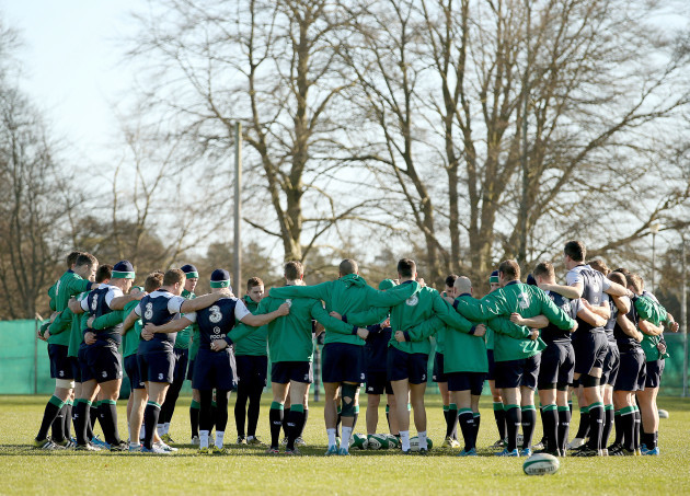 The Ireland squad huddle