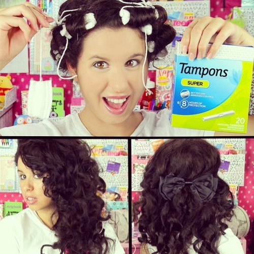 Have you seen my NEWEST Video?! Tampon Curls! And yes...I used actual tampons to curl my hair!!! Watch how amazing my curls came out and how you can use Tampons for more than one reason...PERIOD! Tee Hee! The link to watch is in my bio and right here: http://www.youtube.com/watch?v=gK-v63-rdvM #tampons #beauty #femininehygiene #feminine #hygiene #beautifulcurls #bouncycurls #howto #curlyhair #curls #noheat #noheatcurls #funhairstyles #easy #quick #noheathairstyles #period #menstral #PMS #beautiful #fun #amazing #shocking #wow #shocked #cool #curlyhairstyles