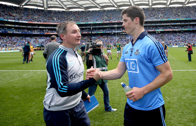 Jim Gavin and Rory OÕCarroll celebrate after the game