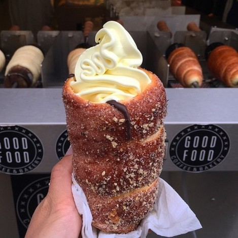 Last day in Prague and I had to get another one of these trdelniks (Slovak pastry grilled and rolled in sugar/walnut mix). I did the American thing and added soft serve.