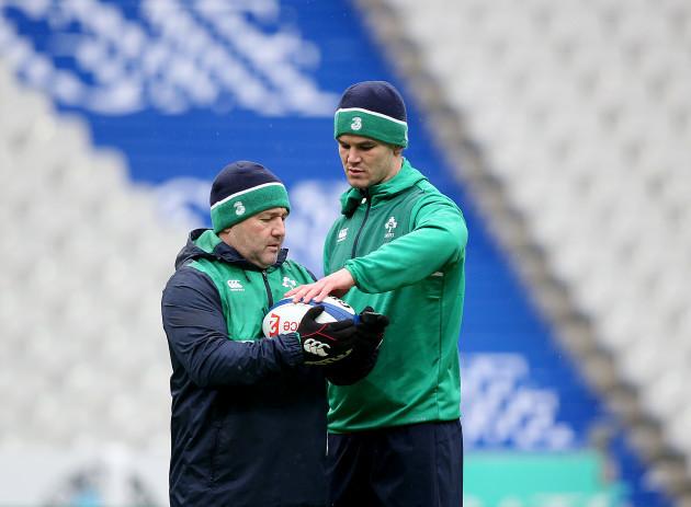 Jonathan Sexton and kicking coach Richie Murphy