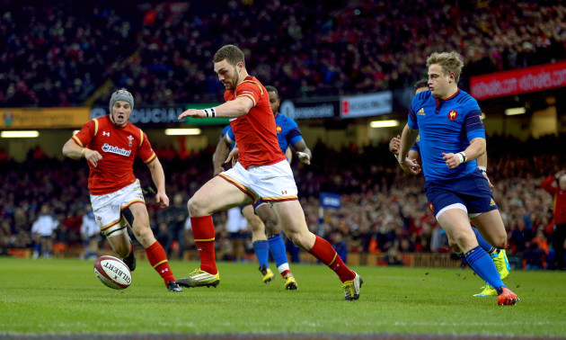 George North kicks on before scoring the first try