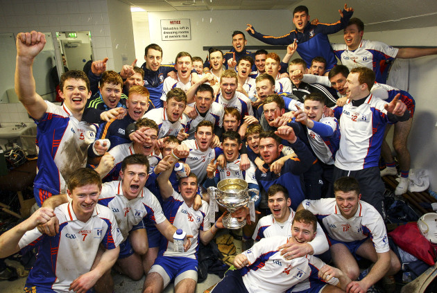 Mary Immaculate's team celebrate with the Fitzgibbon Cup