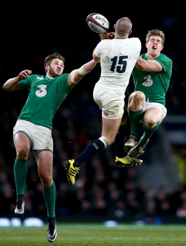 Stuart McCloskey and Andrew Trimble with Mike Brown