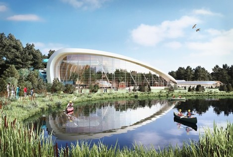 Artist's impression of the Subtropical Swimming Paradise, viewed across the lake