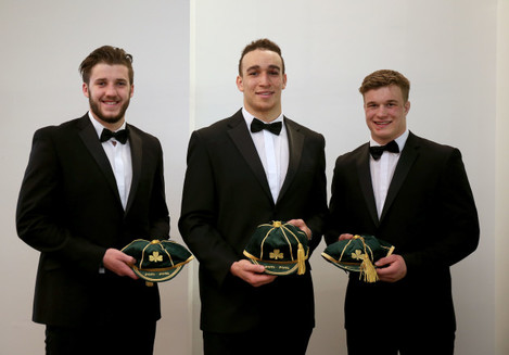 Stuart McCloskey, Ultan Dillane and Josh van der Flier with there first caps