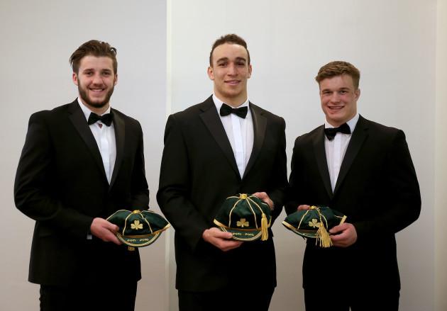 Stuart McCloskey, Ultan Dillane and Josh van der Flier with there first caps