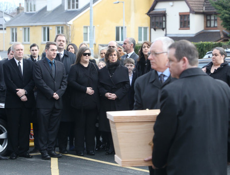 02/03/2016 Frank Kelly funeral. Pictured, the coff