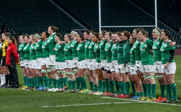The Ireland team stands for the national anthem