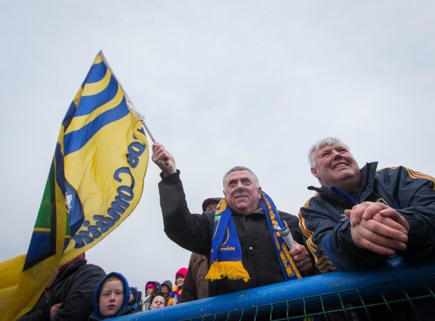 A Roscommon fan cheers on his team