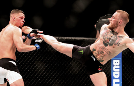 Nate Diaz in action against Conor McGregor