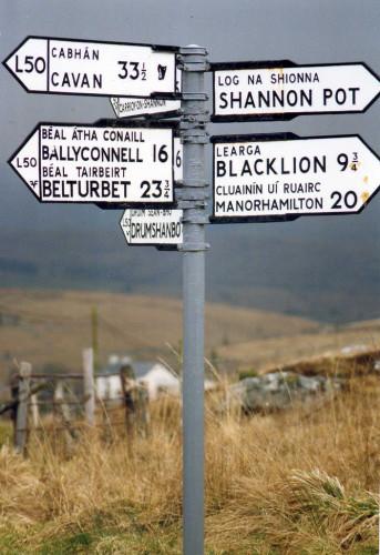 Road sign Glengerlin, near the Shannon Source, Co. Cavan.March 1991