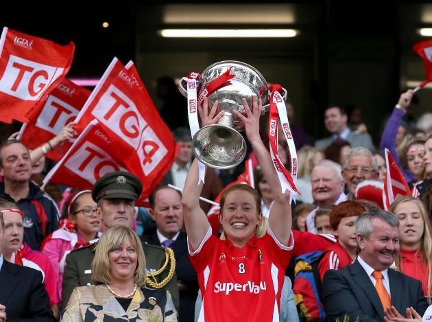 Rena Buckley lifts the Brendan Martin Cup