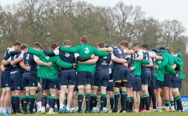 The Ireland players huddle