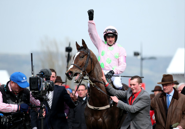 Ruby Walsh onboard Vautour celebrates winning
