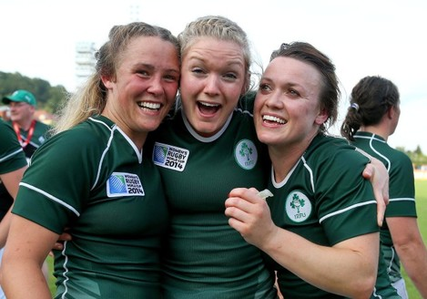 Ashleigh Baxter, Vikki McGinn and Lynne Cantwell celebrate after the game 5/8/2014