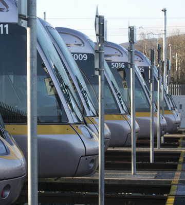 18/02/2016. Luas Strike. Pictured Luas trams lined