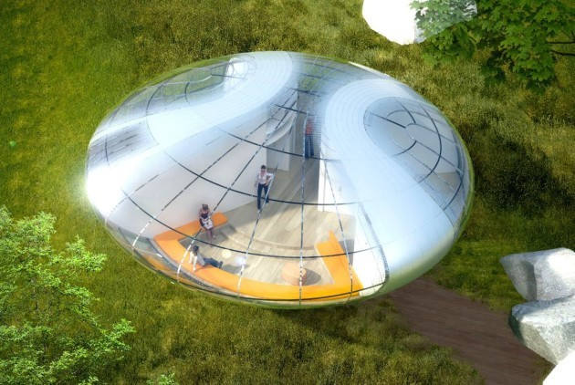 the-nest-pod-is-developed-around-a-north-south-axis-and-takes-up-a-mere-95-square-metres-of-space-the-structural-grid-which-radiates-from-the-center-allows-the-home-to-be-easily-fabricated-off-site-shipped-and-constru