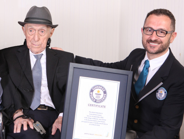 Guinness World Records announces new Oldest man - Israel Kristal - Marco Frigatti Head of Records