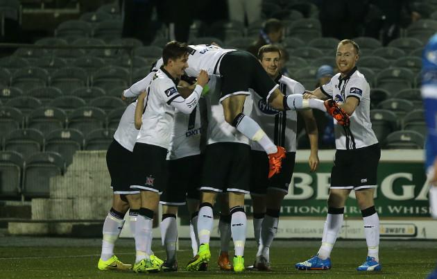 Dundalk players celebrate Paddy Barrett's goal