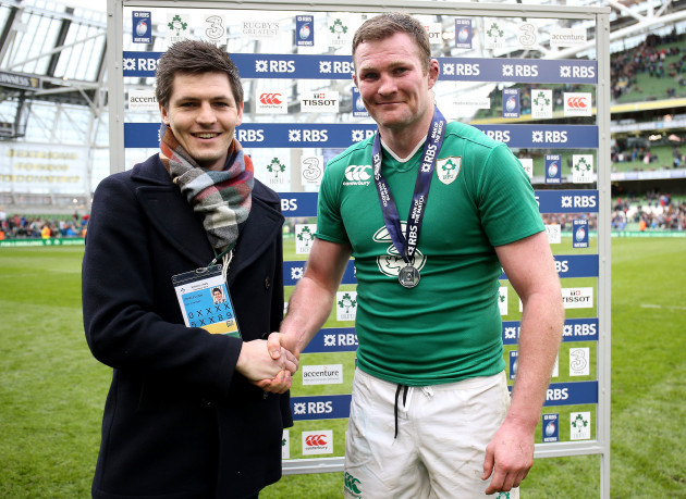 Donnacha Ryan receives the RBS man of the match medal from John Flynn