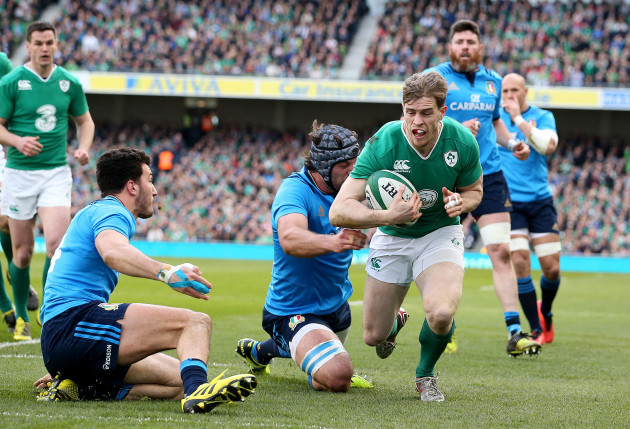 Andrew Trimble scores the first try of the game