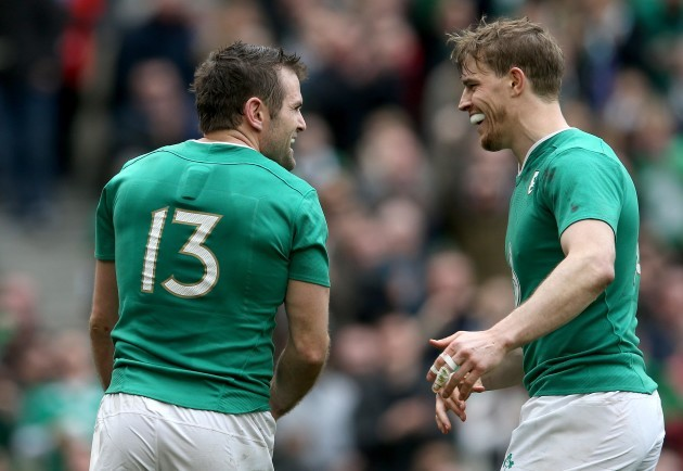 Jared Payne celebrates his try with Andrew Trimble